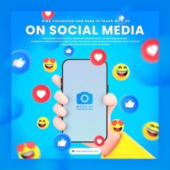 Dłoń trzymająca ikony sieci społecznościowych telefonu wokół makiety renderowania 3d dla szablonu postu w mediach społecznościowych