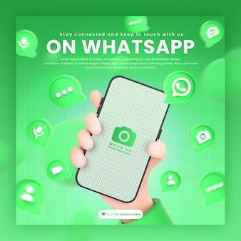 Dłoń trzymająca ikony whatsapp telefonu wokół makiety renderowania 3d do promocji szablonu postu whatsapp