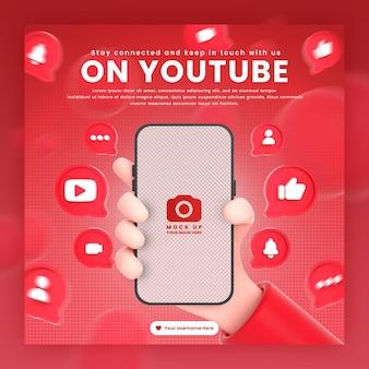 Dłoń trzymająca ikony youtube telefonu wokół makiety renderowania 3d do promocji szablonu postu na youtube