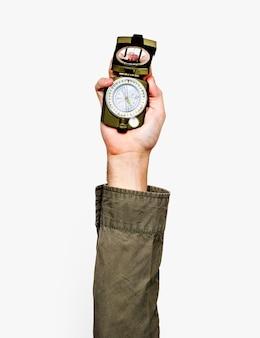 Dłoń trzymająca kompas