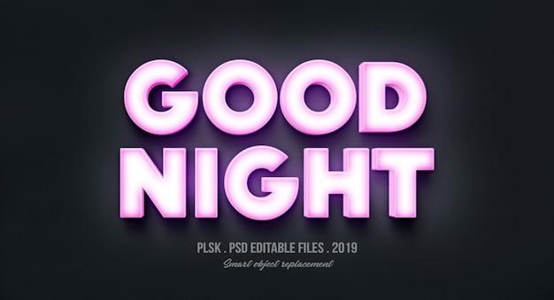 Dobranoc efekt stylu tekstu 3d ze światłami