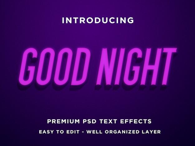 Dobranoc - makieta nowoczesnych, edytowalnych efektów tekstowych psd 3d