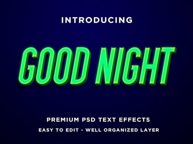Dobranoc zielone neonowe szablony efektów tekstowych 3d