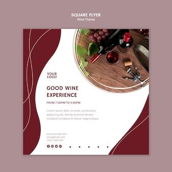 Dobre wino doświadczenie kwadratowych ulotki