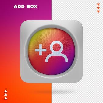 Dodaj box of instagram w renderowaniu 3d na białym tle
