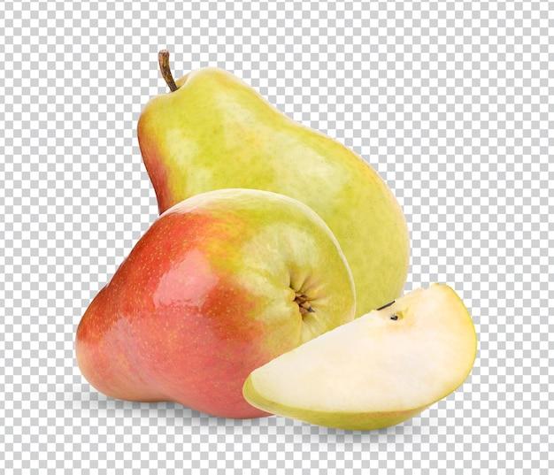 Dojrzałe gruszki na białym tle