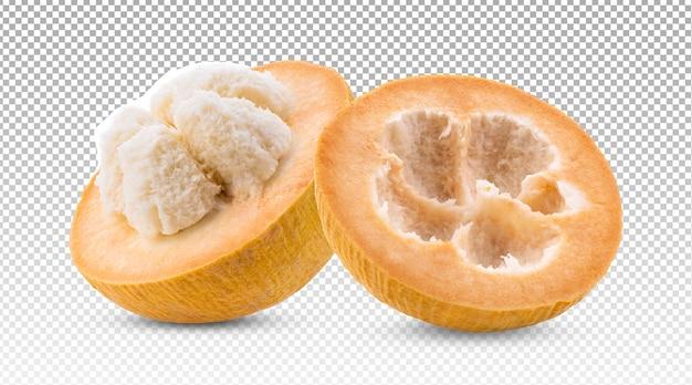 Dojrzałe owoce bawełny santol na białym tle