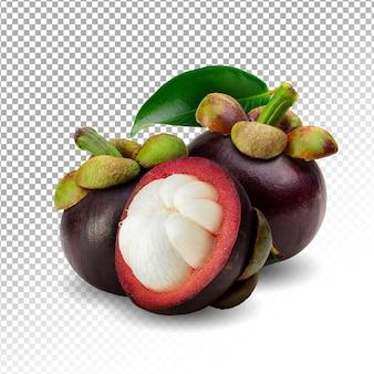 Dojrzałe owoce mangostanu na białym tle