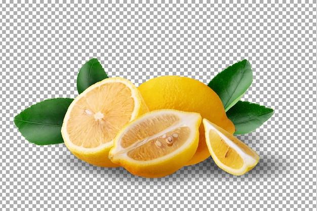 Dojrzałe żółte owoce cytryny na białym tle