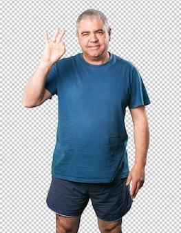 Dojrzały człowiek numer trzy gest