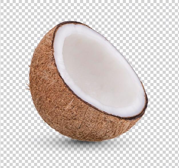 Dojrzały kokos na białym tle