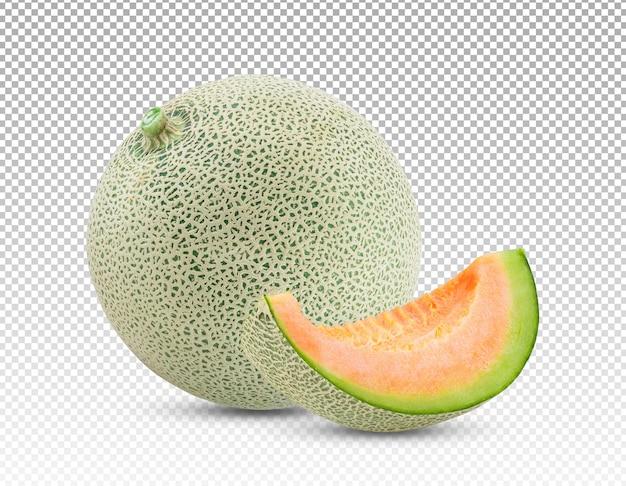 Dojrzały słodki melon z plasterkiem melona na białym tle