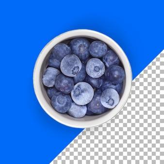 Doładuj widok mrożonej jagody na białej misce na białym tle