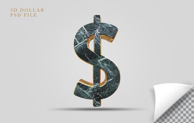 Dolar 3d render tekstury kamień ze złotym