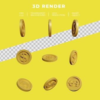 Dolar monety złota renderowania 3d zestaw izolowanych
