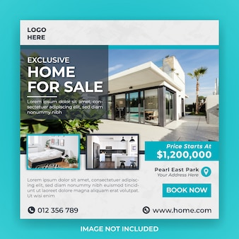 Dom na sprzedaż szablon transparent mediów społecznościowych