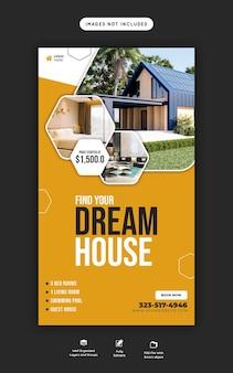Dom nieruchomości na instagramie i szablon historii na facebooku