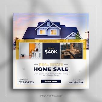 Dom nieruchomości na sprzedaż baner w mediach społecznościowych i kwadratowy szablon reklamowy banera internetowego