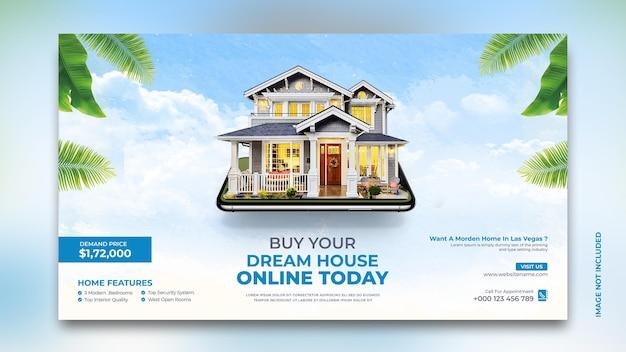 Dom nieruchomości na sprzedaż baneru internetowego w mediach społecznościowych post szablon instagram