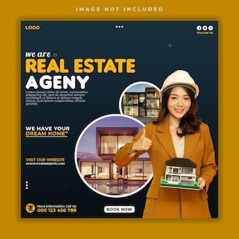 Dom nieruchomości sprzedaż szablon transparentu w mediach społecznościowych