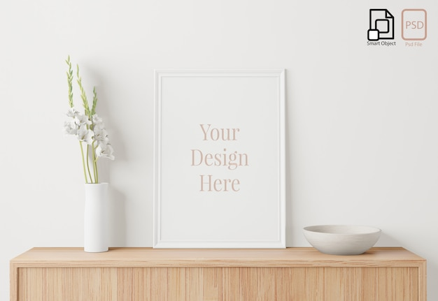 Domowy plakat wewnętrzny makieta z ramą na kredensie i białym tle ściany, małe drzewo