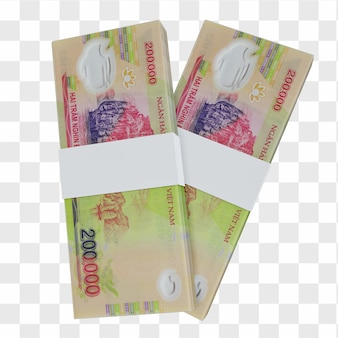 Dong wietnamski 200.000: stos banknotów vnd vietnam