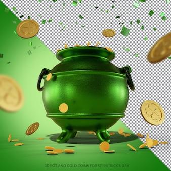 Doniczki 3d i złote monety do renderowania na dzień św. patryka