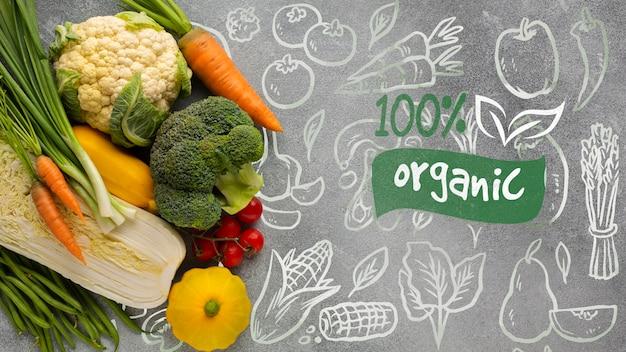 Doodle tło z organicznym tekstem i warzywami