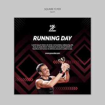 Dopasuj sportowca kolejny dzień szablon ulotki kwadratowe
