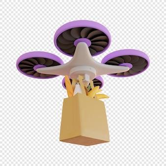 Dostawa 3d dronem produktów spożywczych dostawa zbliżeniowa dostawa przesyłek nowoczesne technologie