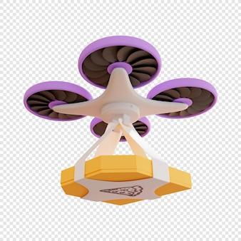 Dostawa 3d paczki z pizzą dronem dostawa zbliżeniowa dostawa żywności nowoczesne technologie