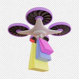 Dostawa 3d toreb na zakupy dronem dostawa zbliżeniowa zakupy nowoczesne technologie