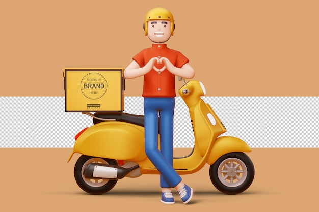 Dostawa mężczyzna robi kształt serca rękami i motocykl dostawy w renderowaniu 3d
