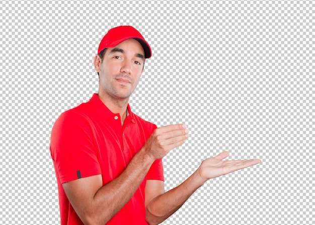 Dostawa młody człowiek z gestem trzymać