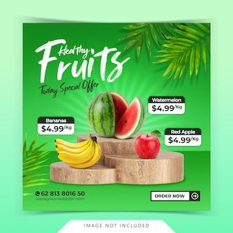 Dostawa świeżych organicznych owoców i warzyw szablon posta w mediach społecznościowych instagram