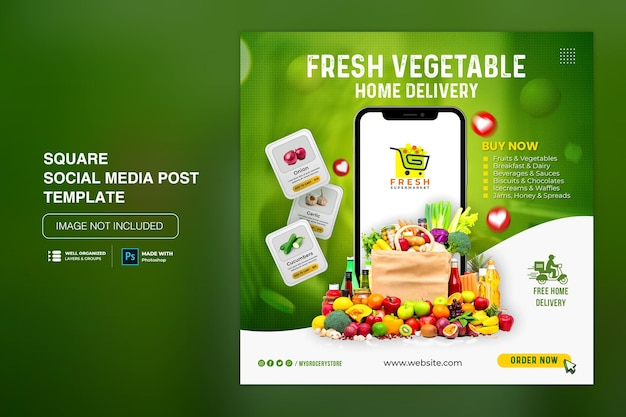 Dostawa warzyw i owoców do sklepów spożywczych w mediach społecznościowych instagram szablon postu w mediach społecznościowych