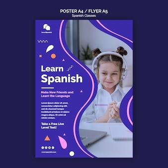 Dowiedz się hiszpańskiego szablonu ulotki