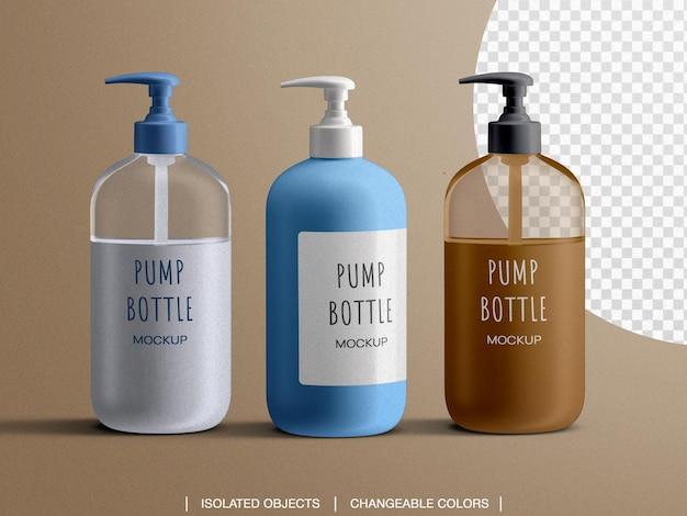 Dozownik do butelek z mydłem w płynie makieta reklamowa i twórca sceny na białym tle