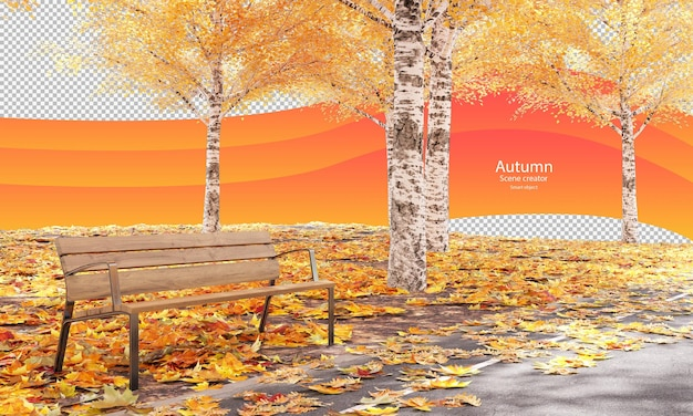 Drewniana ławka w parku jesienią jesienią