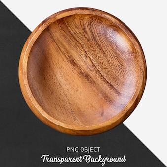 Drewniana okrągła porcja talerz na przejrzystym tle
