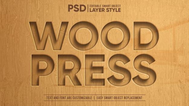 Drewniana prasa rzeźbiona realistyczny 3d edytowalny efekt tekstu inteligentnego obiektu