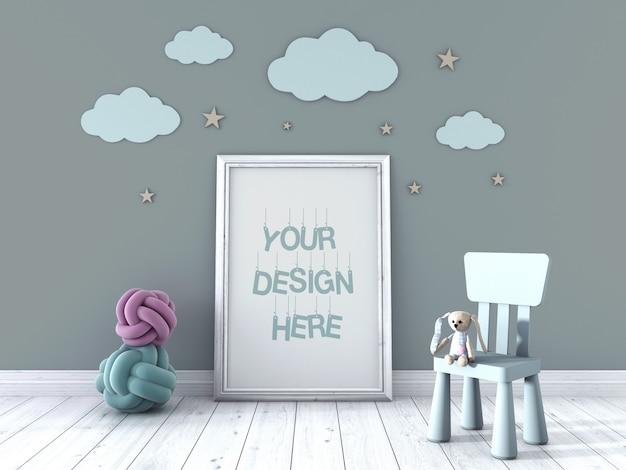 Drewniana ramka na zdjęcia dla dzieci makieta oparta o ścianę ozdobioną chmurami i schodami