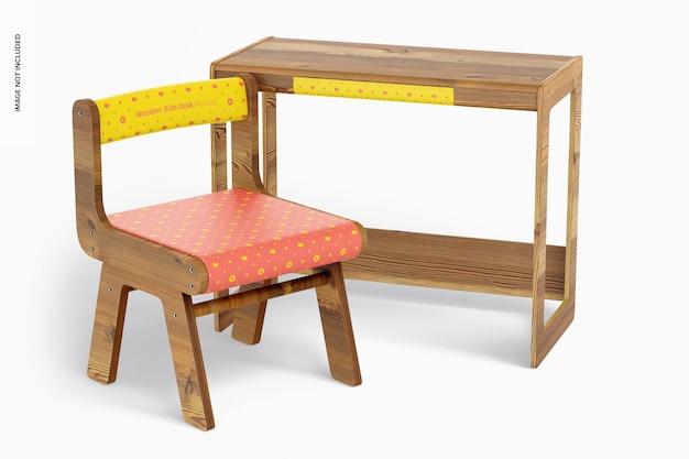 Drewniane biurko dla dzieci z makietą krzesła