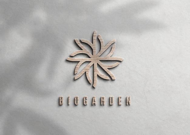 Drewniane logo makieta z wytłoczonymi efektami na powierzchni