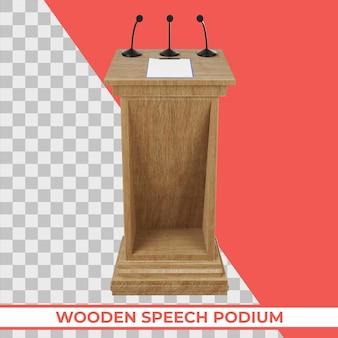 Drewniane podium mowy z trzema małymi mikrofonami przymocowanymi do izolowanego renderowania 3d