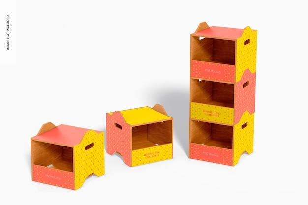 Drewniane pojemniki na zabawki makieta, ułożone w stos