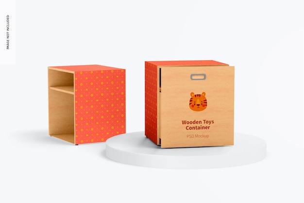 Drewniane pojemniki na zabawki z makieta kół, perspektywa