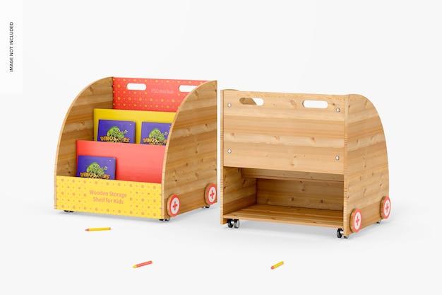 Drewniane półki do przechowywania dla dzieci makieta, widok z przodu iz tyłu