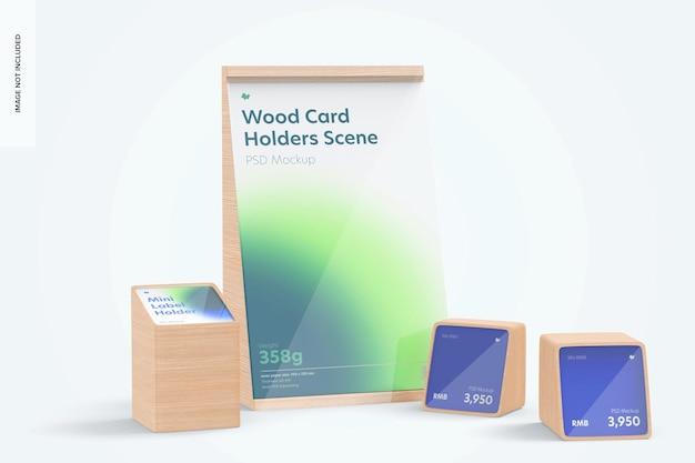 Drewniane posiadacze kart makieta sceny