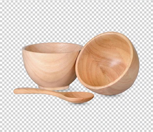 Drewniany kubek i drewniane łyżki na białym tle